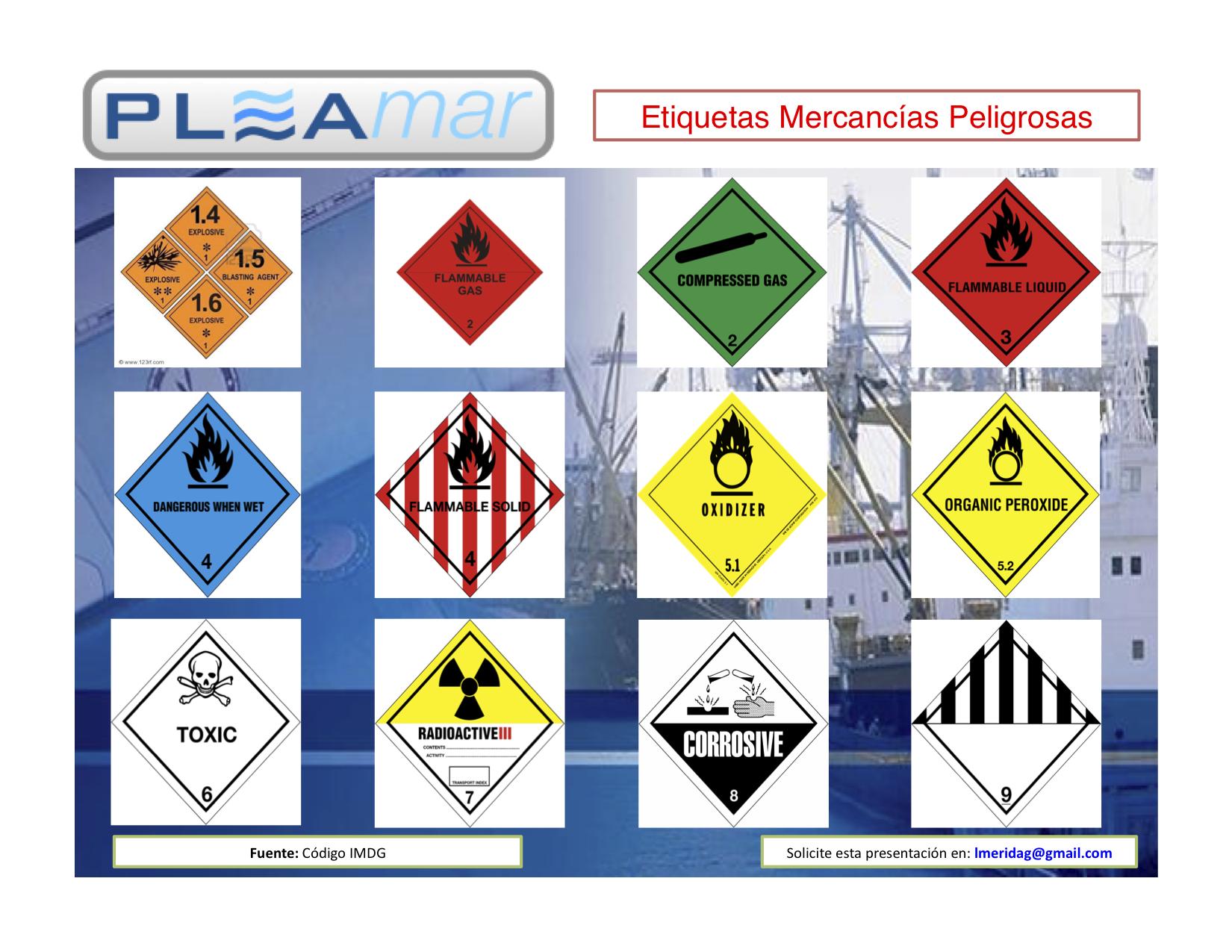 Etiquetas mercancias peligrosas