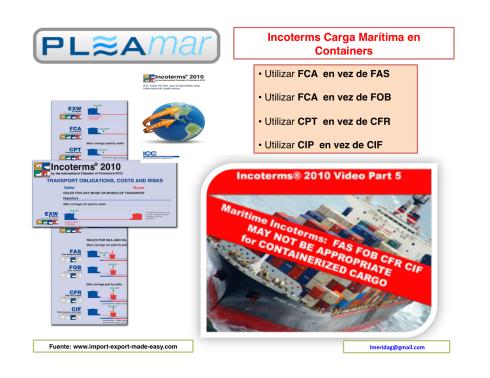 Incoterms 2010 para carga maritima en containers