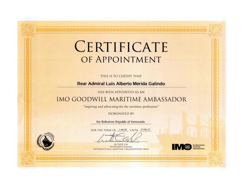 Certificado de Embajador Maritimo de buena voluntad de la Organización Maritima Internacional (OMI) de Venezuela